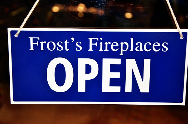 Frosts Fireplaces open sign