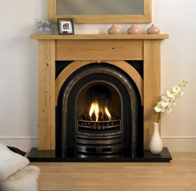 Pine Fire Surround using wood as a fuel source