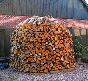 Scandinavian Log Pile using wood as a fuel source