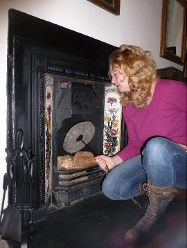 Chimney Sheep Sally with Victorian Fireplace