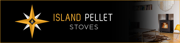 Island Pellet Stoves logo and stove in banner
